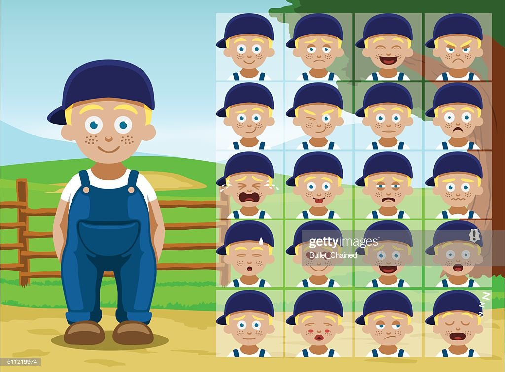 Farm Little Boy Cartoon Emotion faces Vector Illustration