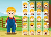 Farm Little Girl Cartoon Emotion faces Vector Illustration