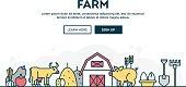 Farm, local grown food, farmer's market, colorful concept header