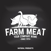 Farm Meat Badge or Label. Vector illustration