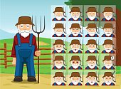 Farm Old Man Cartoon Emotion faces Vector Illustration