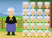 Farm Old Woman Cartoon Emotion faces Vector Illustration
