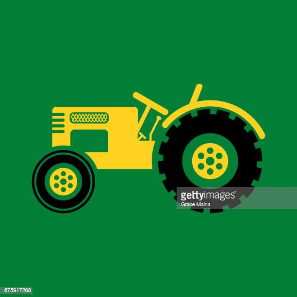farm or construction tractor illustration - vector - tractor stock illustrations