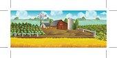Farm. Panorama landscape, Vector background