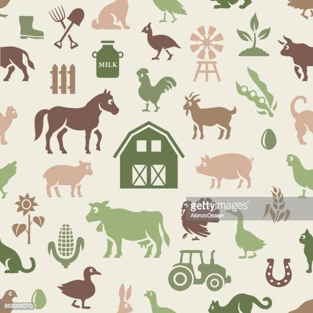 farm pattern - bran stock illustrations, clip art, cartoons, & icons