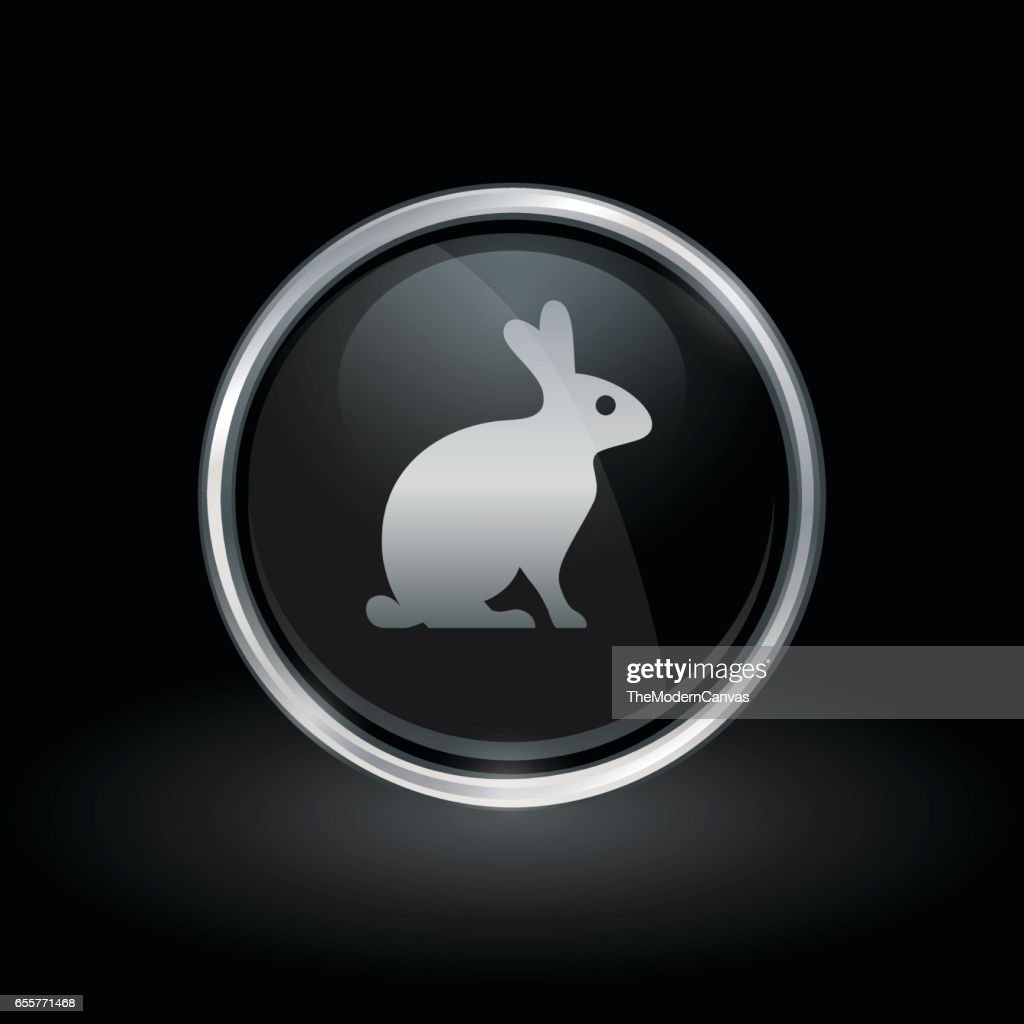 Farm rabbit icon inside round silver and black emblem