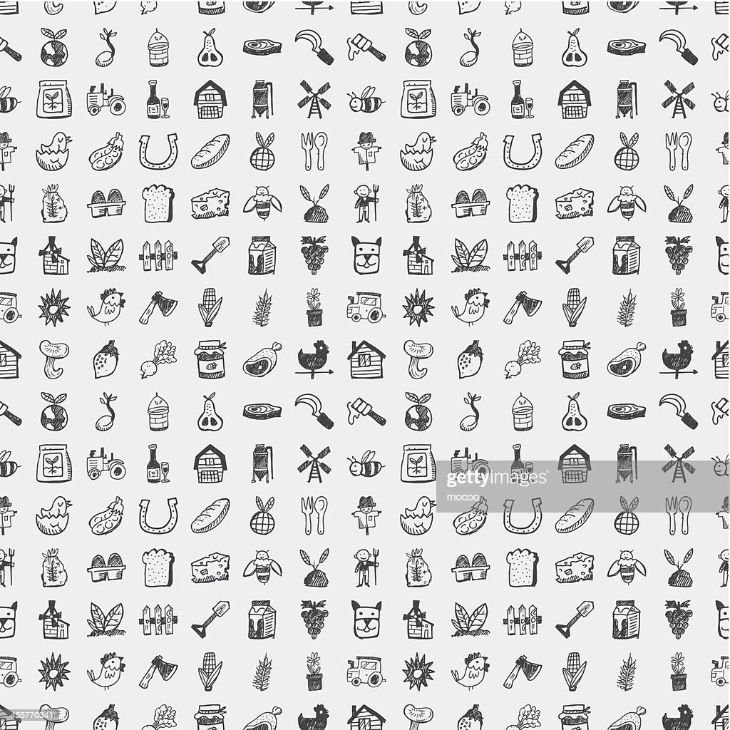 Farm related little icons on grey scale