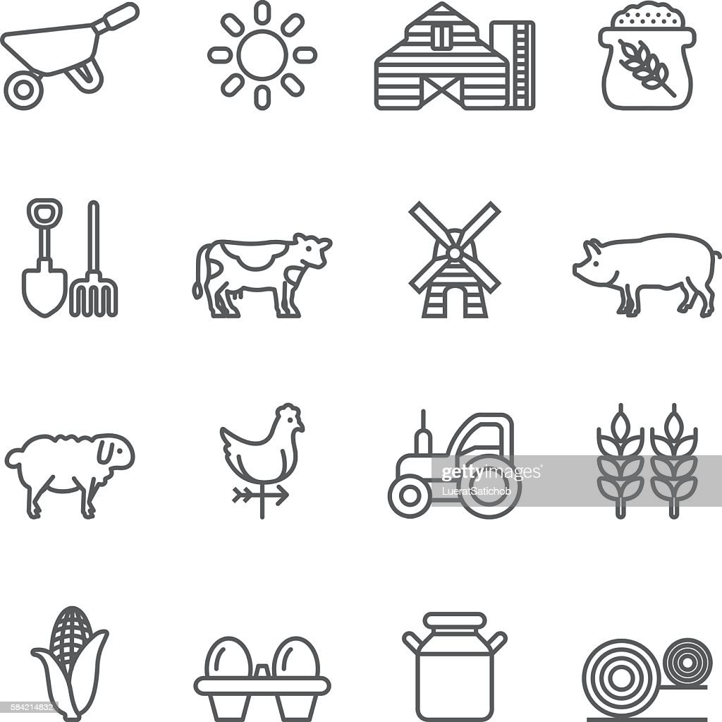 Farm Rice Agriculture Livestock Line icons | EPS10 : Stock Illustration
