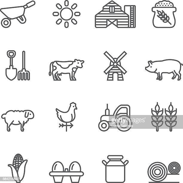 farm rice agriculture livestock line icons | eps10 - sheep stock illustrations, clip art, cartoons, & icons