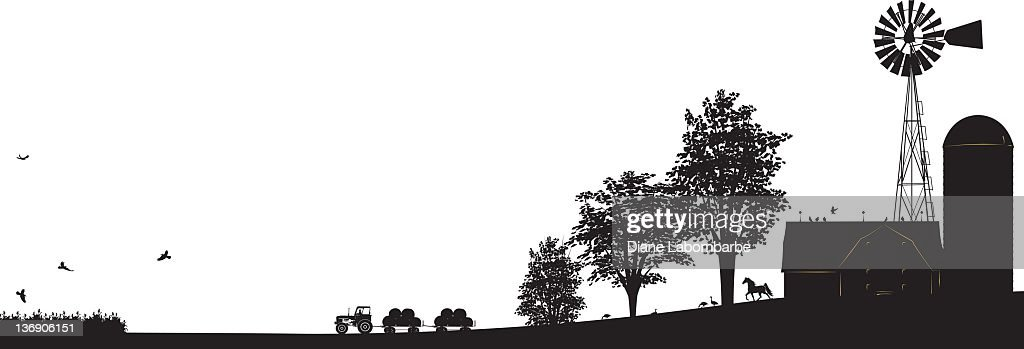 Farm Scene Black silhouette with Buildings,Windmill, Trees and Tractor : stock illustration