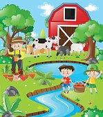 Farm scene farmer and boys by the river
