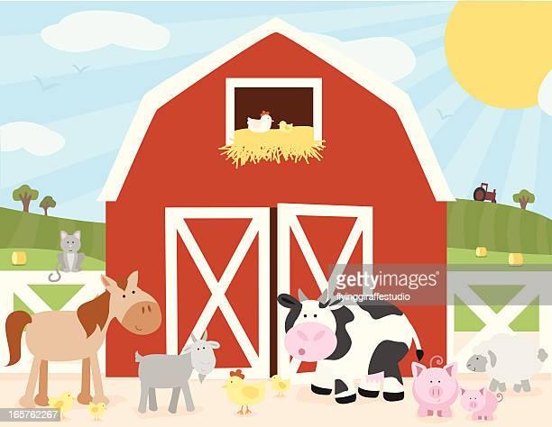 ilustraciones, imágenes clip art, dibujos animados e iconos de stock de farm escena de - animal doméstico