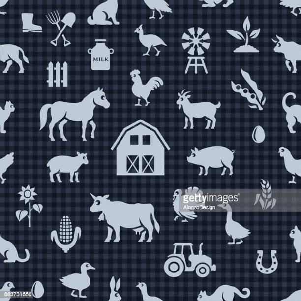 farm seamless pattern - bran stock illustrations, clip art, cartoons, & icons
