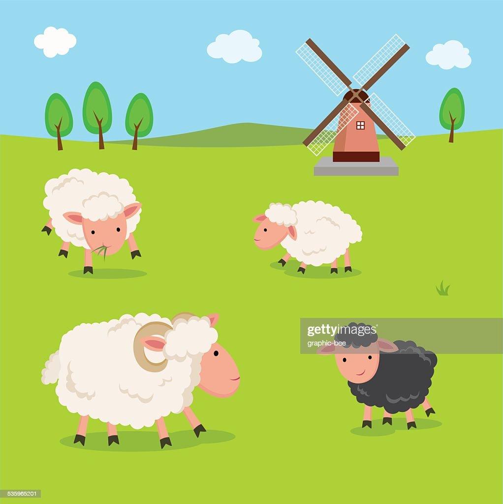 Farm. Sheep and windmill. : Vector Art