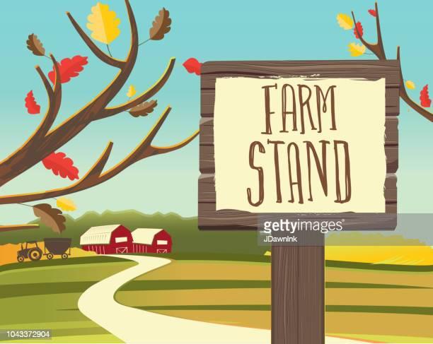 Bauernhof Stand Herbst oder im Herbst unter dem Motto hölzerne Wegweiser