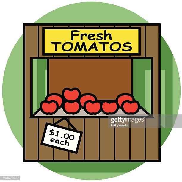 ilustraciones, imágenes clip art, dibujos animados e iconos de stock de farm soporte icono - puesto de mercado