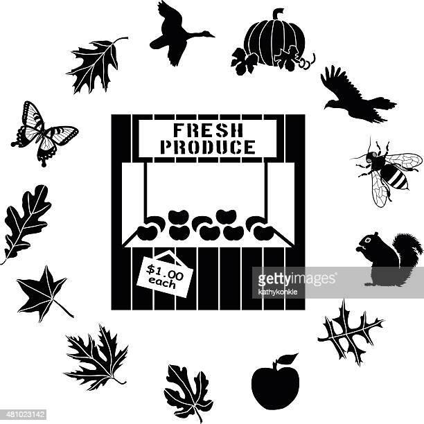 ilustraciones, imágenes clip art, dibujos animados e iconos de stock de farm soporte rodeado por país de vida silvestre icono de borde circular - puesto de mercado
