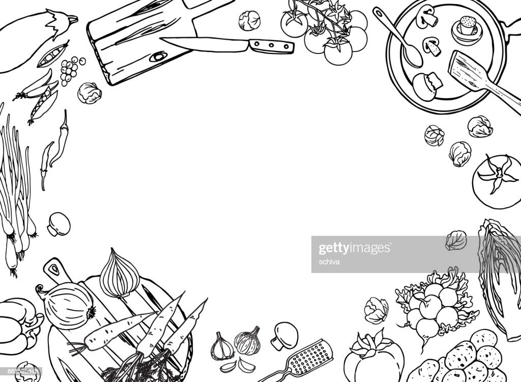Farm vegetables and cooking utensil black and white vector illustration template