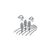 Farm wheat line icon. Outline illustration of wheat field vector linear design isolated on white background. Farm icon template, element for agriculture business, line icon object.