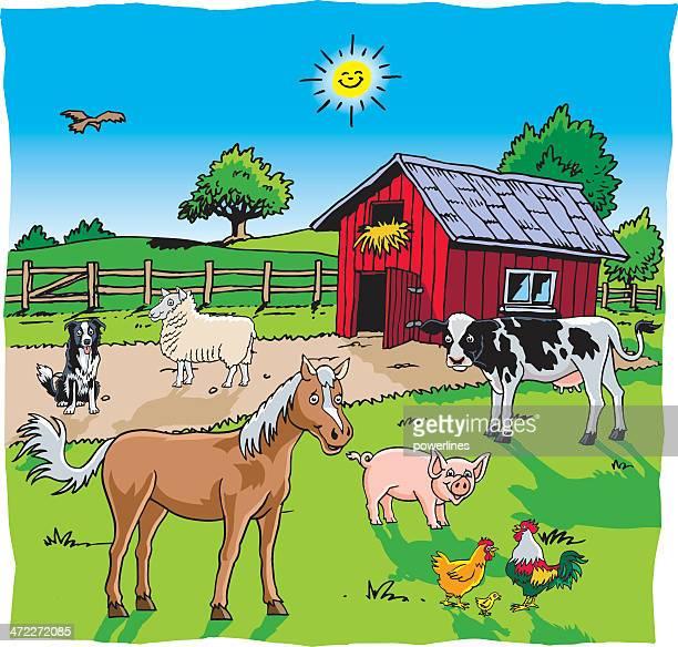 illustrazioni stock, clip art, cartoni animati e icone di tendenza di animali fattoria giardino - vertebrato