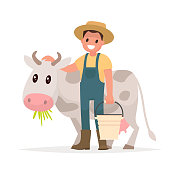 Farmer and cow. Agriculture. Vector illustration in a flat style