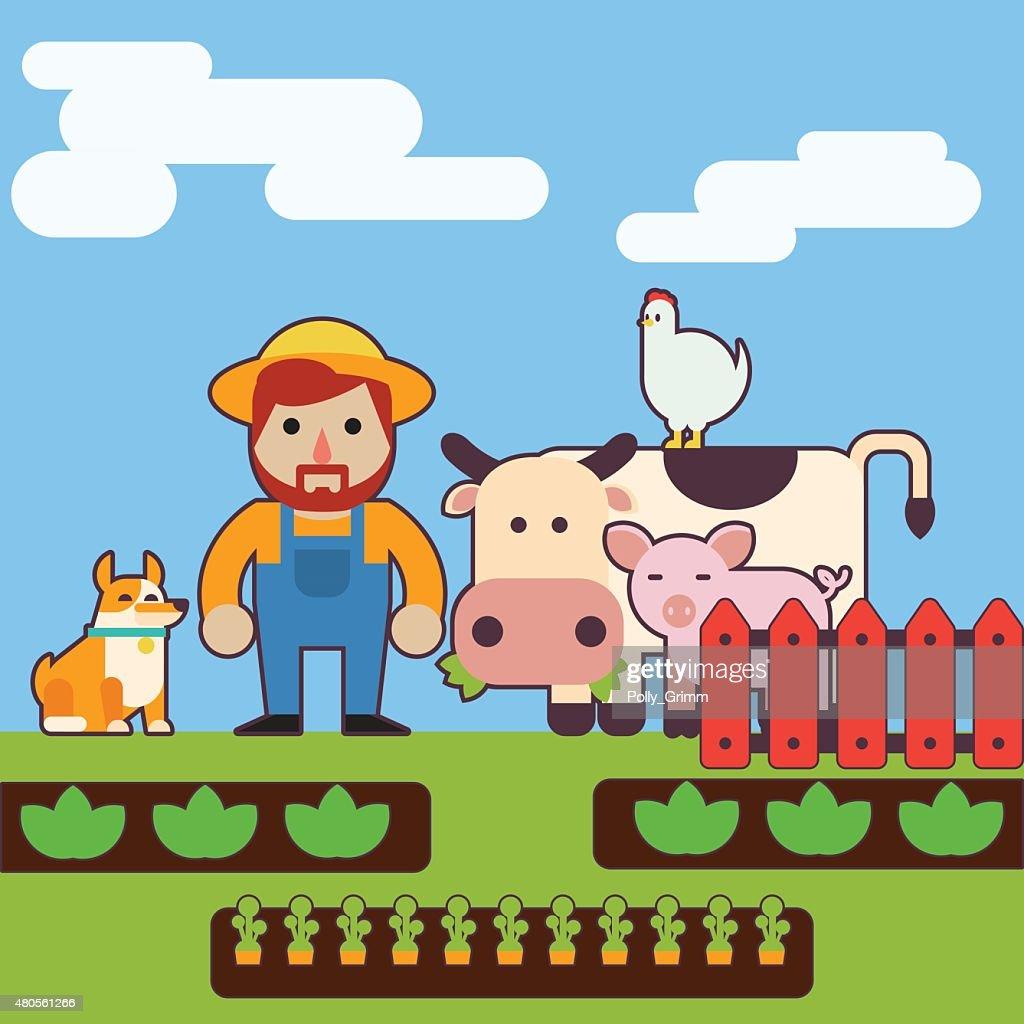 Farmer and farm animals : Vector Art