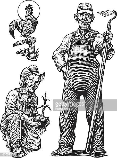 Farmer and Rooster Crowing