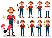 Farmer cartoon character, set