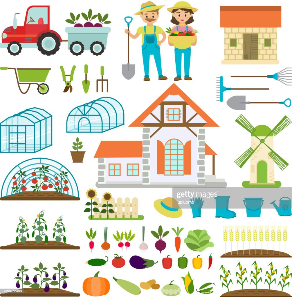 Farmer family and farm icons gardener family characters farmers with various plants healthy organic food vector illustration