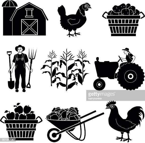 farmer harvesting crops icon set - zea stock illustrations, clip art, cartoons, & icons