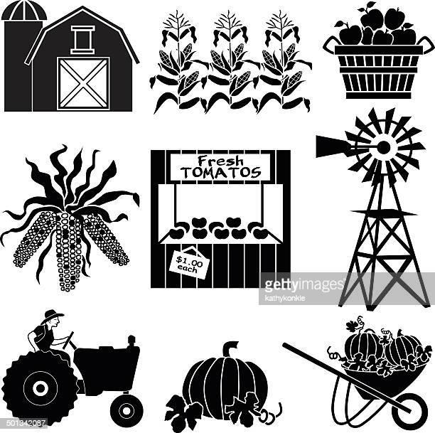 ilustraciones, imágenes clip art, dibujos animados e iconos de stock de farmer cosechar su cultivo conjunto de iconos - puesto de mercado