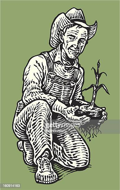 Farmer in Garden with Plant