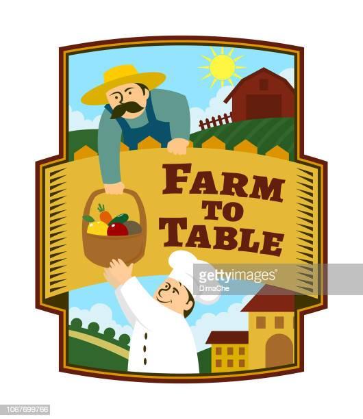 stockillustraties, clipart, cartoons en iconen met landbouwer geeft aan de chef-kok een korf van verse groenten en fruit van de boer - frische