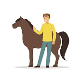 Farmer man caring for his horse, farming and agriculture vector Illustration