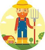 Farmer on farm background in flat style