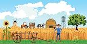 Farmer on farm background