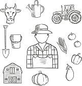 Farmer or farm worker profession sketch