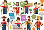 farmer or farming, gardening icons set. vector illustration
