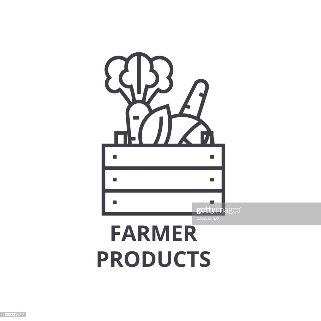 farmer products line icon, outline sign, linear symbol, vector, flat illustration