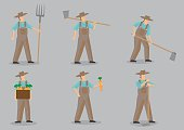 Farmer Vector Cartoon Character Set