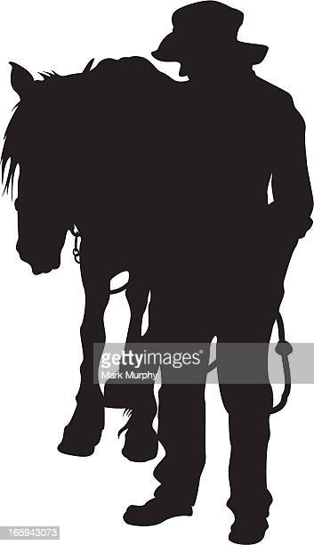 farmer with work horse - mare stock illustrations, clip art, cartoons, & icons