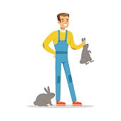 Farmer woman caring for rabbits, farming and agriculture vector Illustration
