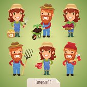 Farmers Cartoon Characters Set1.1