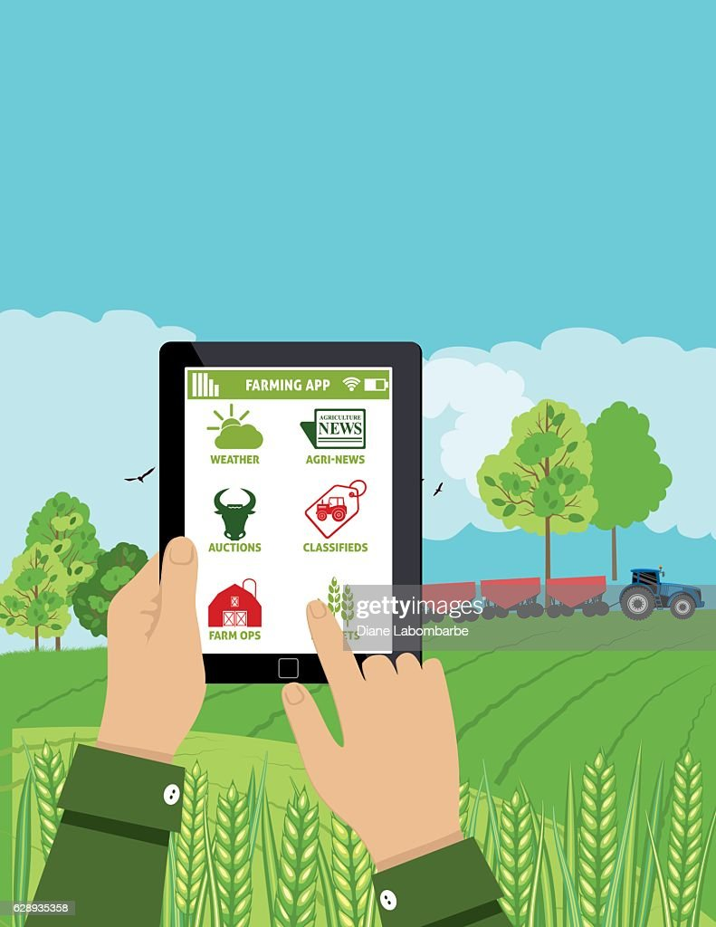 Farmers Holds a Tablet With an Agriculture Application On It : stock illustration