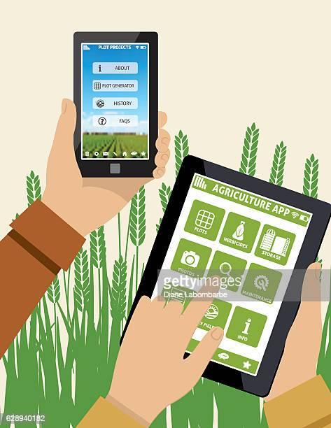illustrations, cliparts, dessins animés et icônes de farmers holds a tablet with an agriculture application on it - tenir