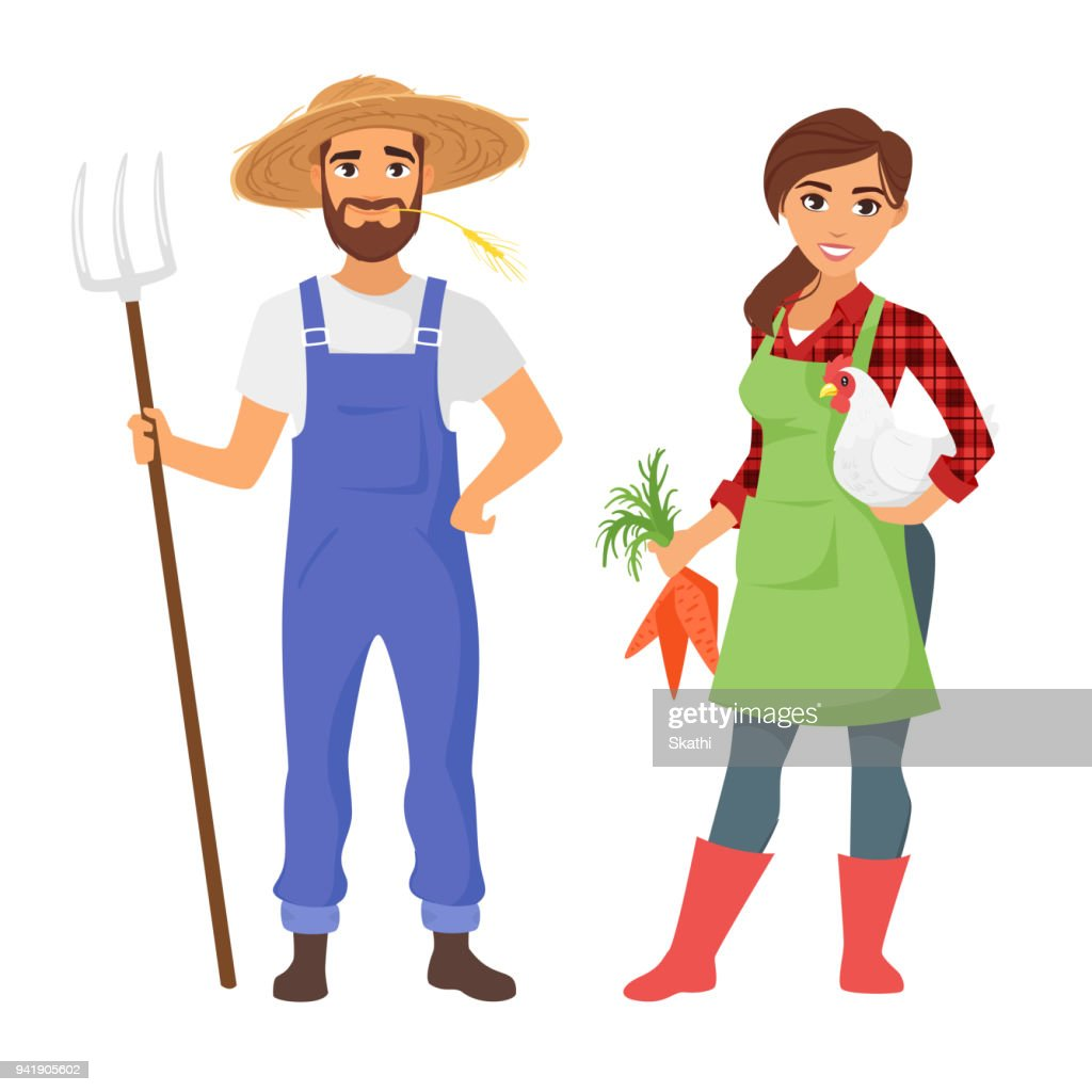 farmers: man and woman character