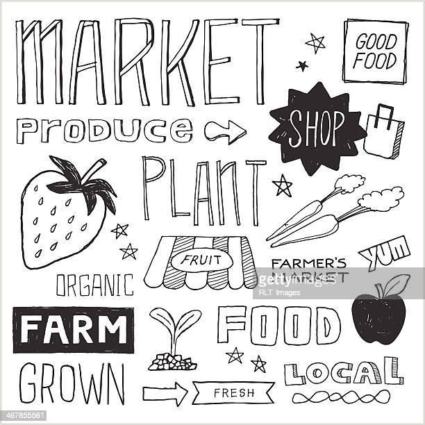 ilustraciones, imágenes clip art, dibujos animados e iconos de stock de farmer's market garabatos, elementos vectoriales - puesto de mercado