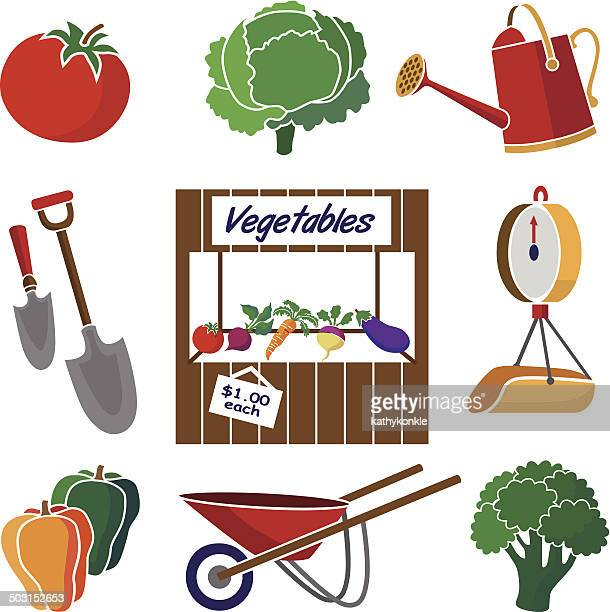 ilustraciones, imágenes clip art, dibujos animados e iconos de stock de icono de mercado de agricultores de terminal - puesto de mercado