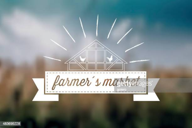 farmers market label on blurred background - agricultural fair stock illustrations, clip art, cartoons, & icons