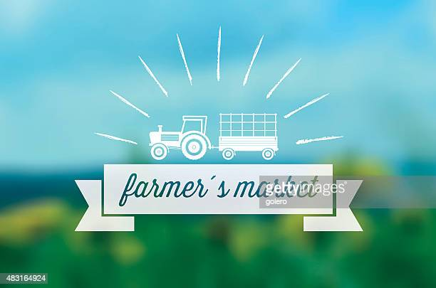 farmers market line symbol on blurred background - agricultural fair stock illustrations, clip art, cartoons, & icons